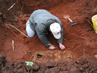 OAR Staff Working to Expose Burial Casket