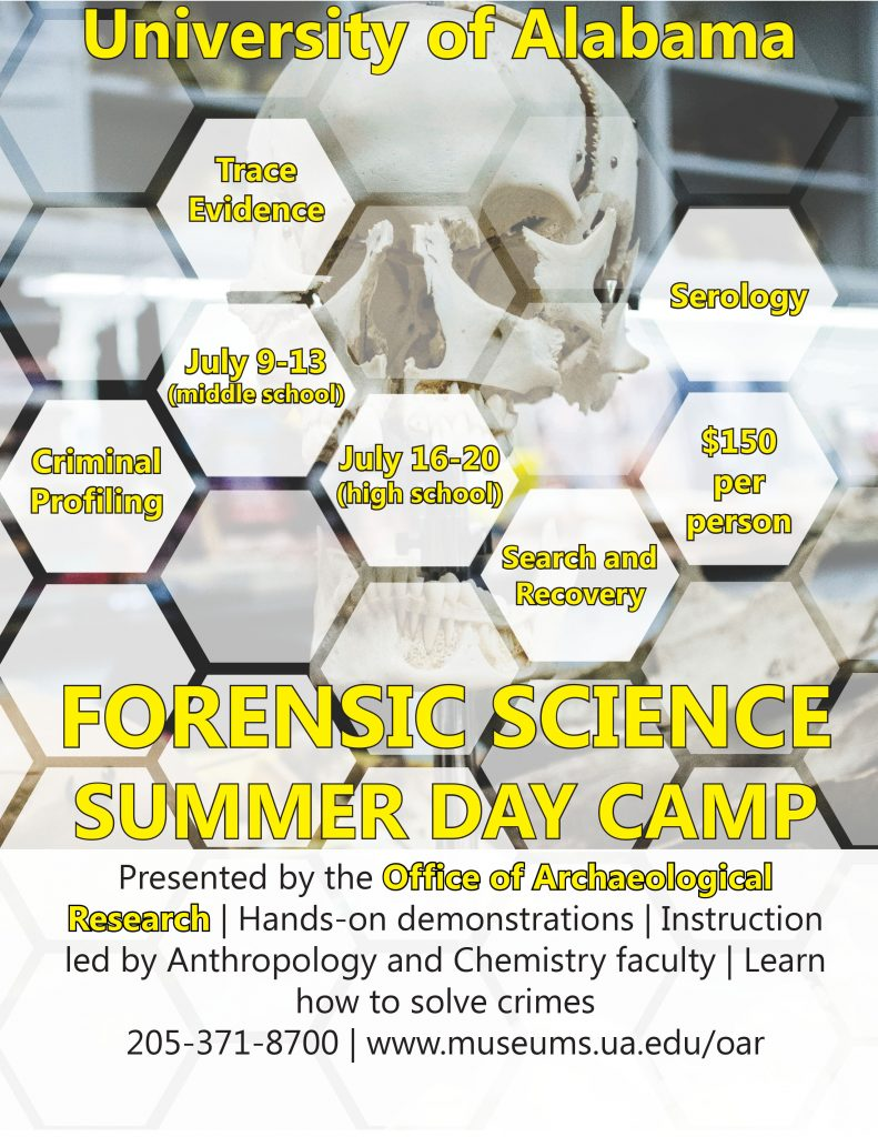 Forensic Science Summer Camp-July 9 through 13 for middle school and July 16 through 20 for high school